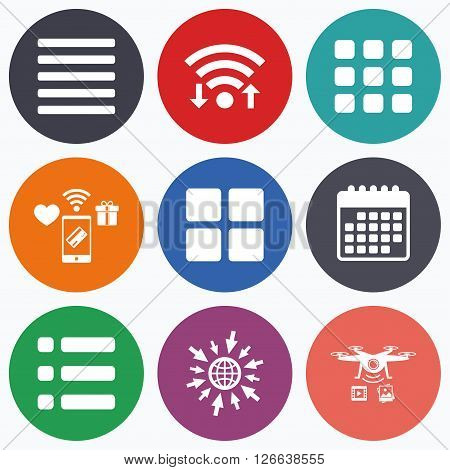 Wifi, mobile payments and drones icons. List menu icons. Content view options symbols. Thumbnails grid or Gallery view. Calendar symbol.