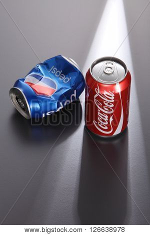 Kuala Lumpur,Malaysia -April 13 2016 Coca Cola and Pepsi Cola, the two giants of the cola beverage market where Coca Cola is the dominant over Pepsi Cola, illustrated by this image