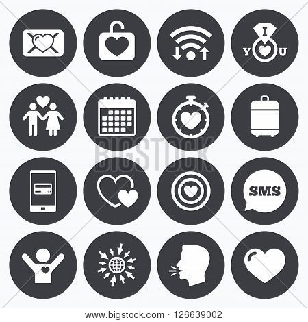 Wifi, calendar and mobile payments. Love, valentine day icons. Target with heart, oath letter and locker symbols. Couple lovers, boyfriend signs. Sms speech bubble, go to web symbols.