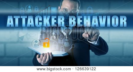 Investigative specialist pushing ATTACKER BEHAVIOR on a virtual touch screen interface. Information technology metaphor and forensic research metaphor for identifying an attackers habits via residue.