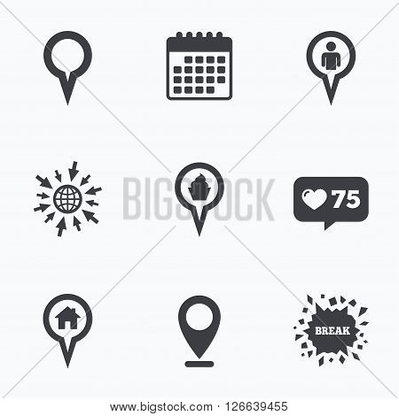 Calendar, like counter and go to web icons. Map circle pointer icons. Home, food and user location symbols. Restaurant and cupcake signs. You are here. Location pointer.