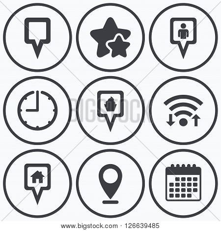 Clock, wifi and stars icons. Map square pointer icons. Home, food and user location symbols. Restaurant and cupcake signs. You are here. Calendar symbol.