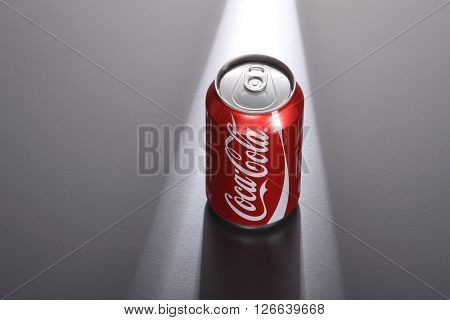 Kuala Lumpur,Malaysia -April 13 2016 coca cola red can on the gray background