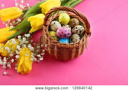 Multicoloured Easter eggs in basket and crocus on pink background
