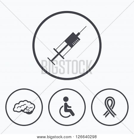 Medicine icons. Syringe, disabled, brain and ribbon signs. Breast cancer awareness symbol. Handicapped invalid. Icons in circles.