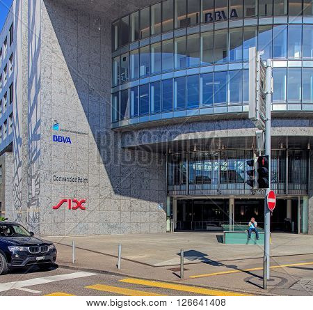 Zurich, Switzerland - 20 April, 2016: entrance of the SIX Swiss Exchange building. SIX Swiss Exchange is the leading Swiss stock exchange for the trading of shares, bonds and investment funds.