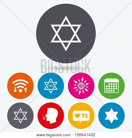 Wifi, like counter and calendar icons. Star of David sign icons. Symbol of Israel. Human talk, go to web.