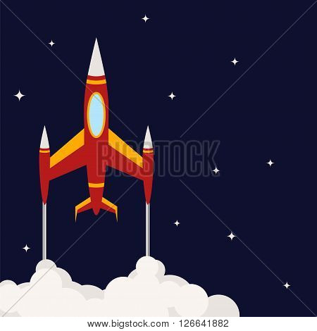 Space background with a rocket. Space rocket flies into space. Spaceship in a flat style. Vector illustration.