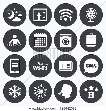 Wifi, calendar and mobile payments. Hotel, apartment service icons. Washing machine. Wifi, air conditioning and swimming pool symbols. Sms speech bubble, go to web symbols.