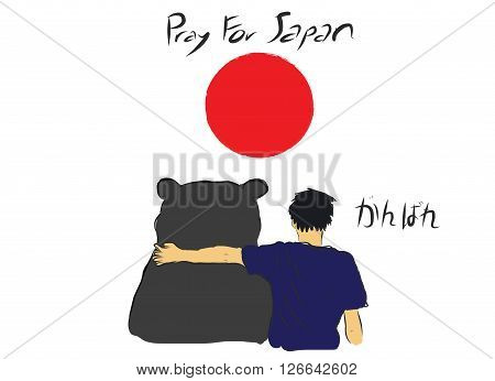 Pray for Japan with unknown man hug the big bear for encourage by my own sketch drawing with text Do you best in Japanese language under the red circle of Japan flag