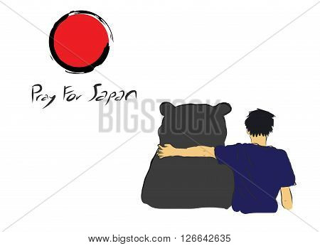 Pray for Japan with unknown man hug the big bear for encourage by my own sketch drawing under the red circle of Japan flag