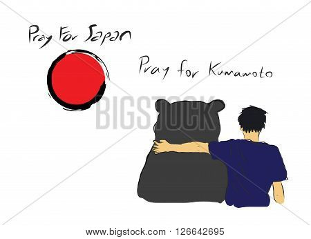 Pray for Japan with unknown man hug the big bear for encourage by my own sketch drawing under the red circle of Japanese symbol