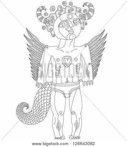 Vector Hand Drawn Black And White Graphic Illustration Of Weird Creature, Cartoon Nude Man With Wing