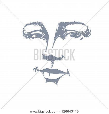 Monochrome Art Vector Portrait Of Flirting Woman, Face Expressions Theme Illustration. Beautiful Sex