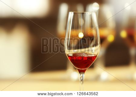 Glass of red wine, close up