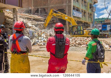 Portoviejo, Ecuador - April, 18, 2016: Rescue team making recovery efforts after 7.8 earthquake.