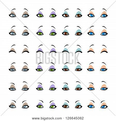 Set female eyes isolated on white background. Women's eyes in cartoon style. Eyes with different emotions facial expressions. Vector illustration.