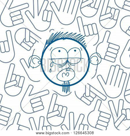 Vector colorful illustration of cartoon crying sad boy isolated on special background with hand drawn design elements social interaction idea. Facial expressions on teenager face.