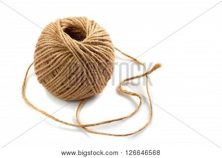 Skein of jute twine isolated on white background
