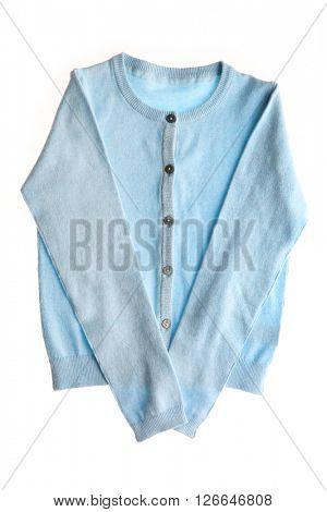 Blue cardigan, isolated on white