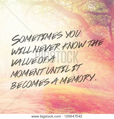 Inspirational Typographic Quote - Sometimes you never know the value of a moment until it becomes a memory