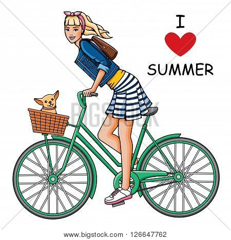 Young beautiful girl rides a bicycle. Fashion woman and dog in white background. Summer trip