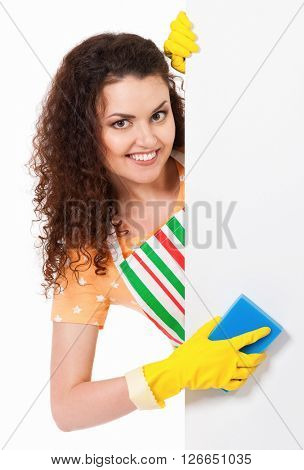 Beautiful young housewife with blank placard board, isolated on white background