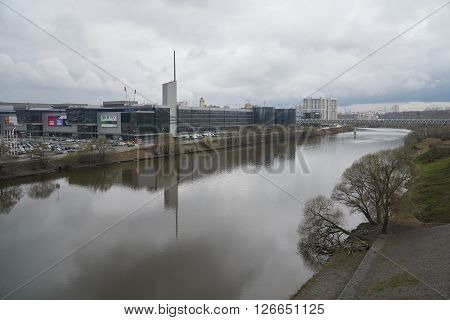 Moskva river and Crocus City Hall Moscow Russia - April 15 2016: View on Crocus City Hall from the bridge over Moskva river and Moscow circular road (MKAD).