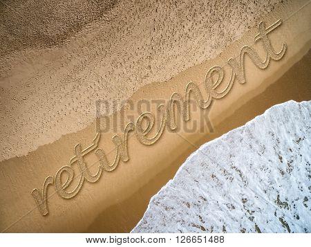 Retirement written on the beach