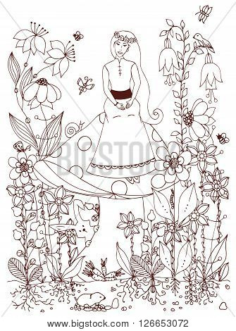 Vector illustration zentangl girl sitting on a mushroom. Fairy story, doodle flowers, rabbit, carrot, fairy, princess, butterfly. Coloring book anti stress for adults. Brown and white.