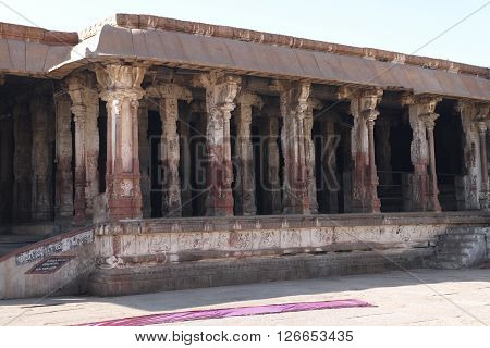 The operating Hindu temple of Virupaksha in the village of Hampi in India