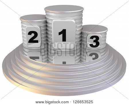 Winners podium. The podium of winners. Isolated. 3D Illustration
