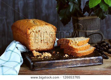 Cut cake with orange marmalade honey and cinnamon shot with natural light
