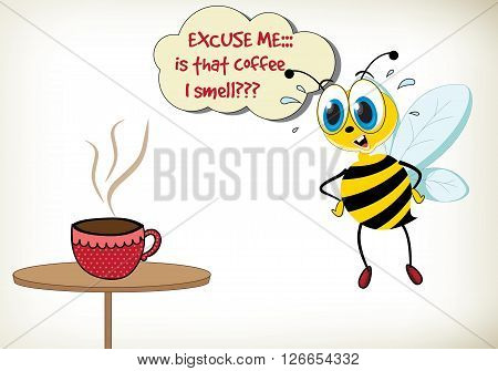 Funny cartoon bee with cup of coffee.