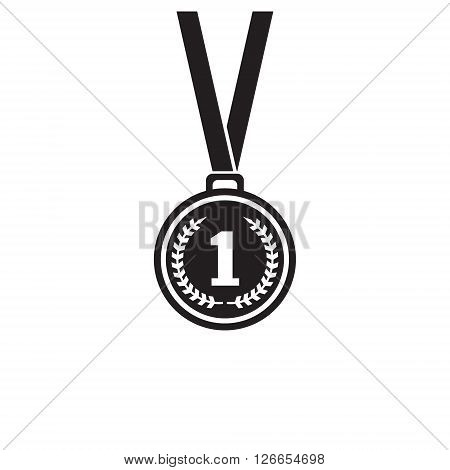First place medal monochrome icon. Winner icon. Medal art. medal image. Design element in vector.