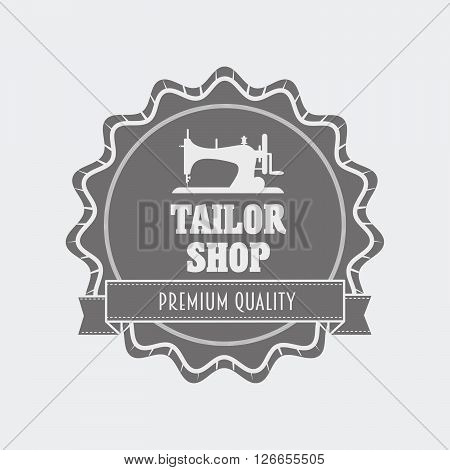 Retro Tailor Shop Logo Or Label Design Template With Sewing Machine