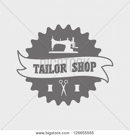 Vintage Style Tailor Shop Label, Logo, Emblem Or Designed Element With Sewing Machine And Scissors.