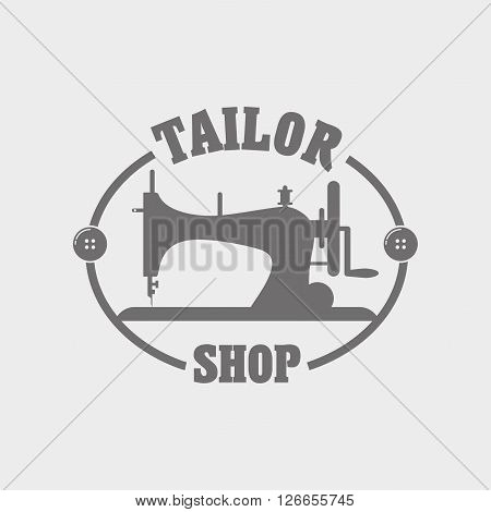 Tailor Shop Label, Logo Template, Emblem Or Designed Element With Sewing Machine.
