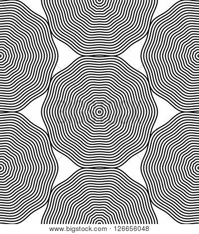 Continuous vector pattern with black graphic lines decorative abstract background with geometric figures. Monochrome ornamental seamless backdrop can be used for design and textile.