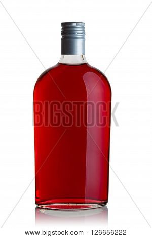 glass bottle liquor red on a white background