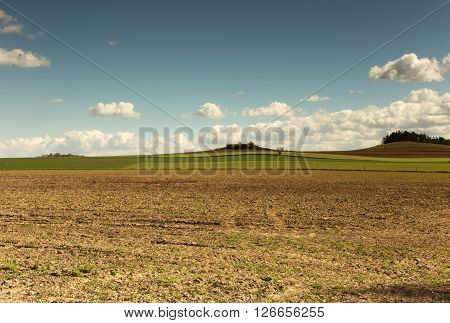 Polandphoto of beautiful landscape with plowed fieldgreen winter corn and hill in background under blu sky with white clouds. Horizontal view. ** Note: Visible grain at 100%, best at smaller sizes