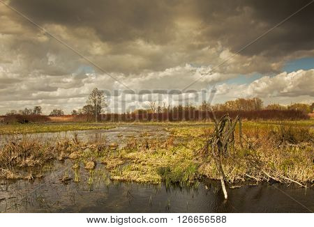 Polandspring flood waters of the river under darkcloudy sky in april. Horizontal view. ** Note: Visible grain at 100%, best at smaller sizes