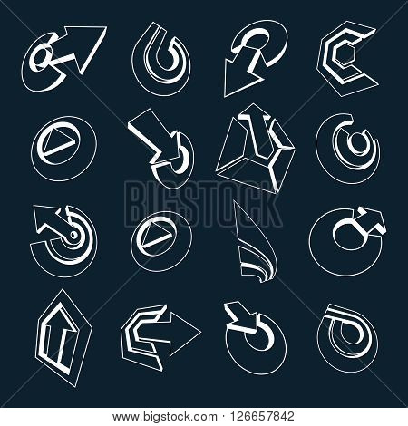 Dimensional Black And White Vector App Buttons. Collection Of Arrows, Direction Icons And Different