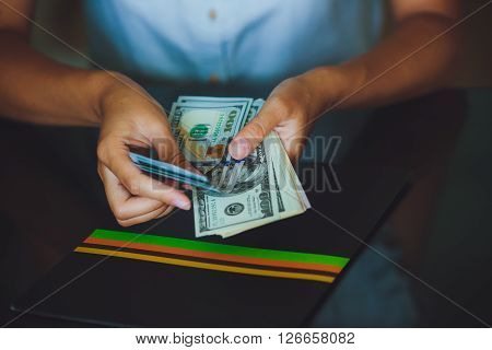 American Dollars In The Hands, Women  Counting Money