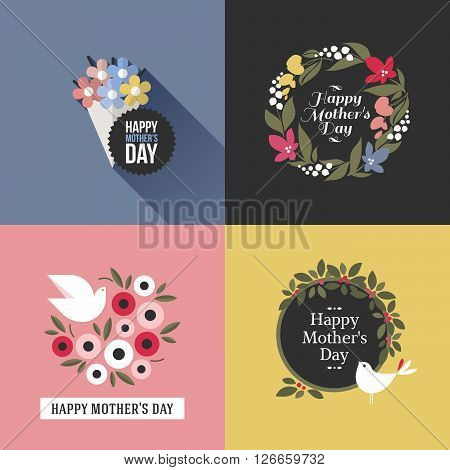 Mothers day card with pretty birds assortment of multicolored floral decoration and greeting text message