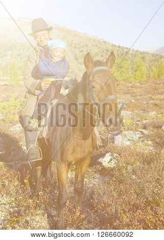 Mongolian Tsataan on Horse Natural Concept