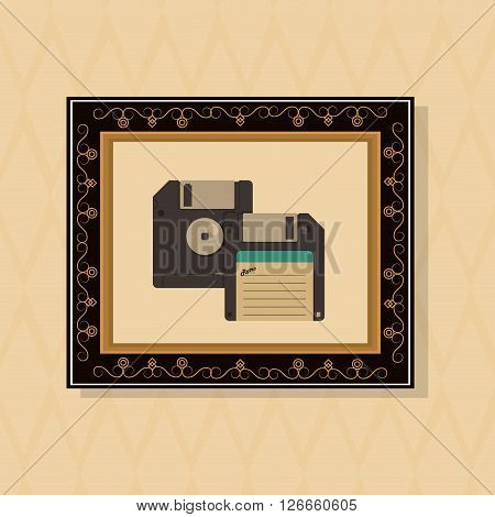 vintage diskette concept with icon design, vector illustration 10 eps graphic.