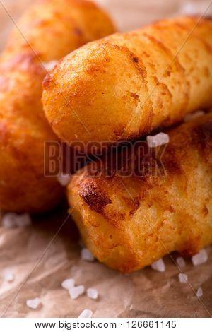 Detail Of Crispy Potato Croquettes With Salt