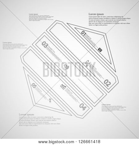 Illustration infographic template with motif of hexagon which is askew divided to five grey parts created by double contour outlines. Each item contains number text and simple sign. Background is light.