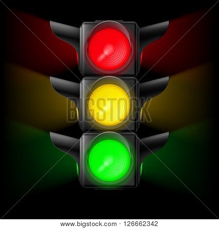 Realistic traffic lights with all three colors on. Illustration on black
